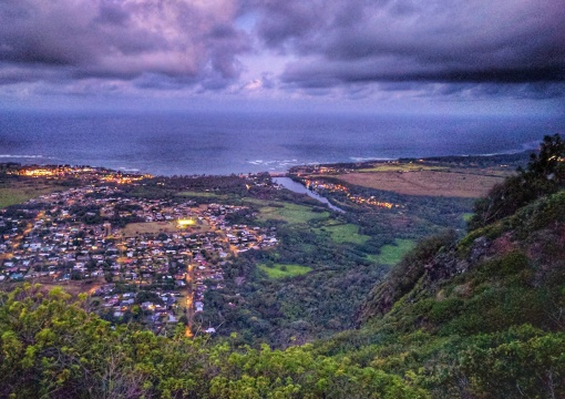 Downtown Kapaa at night from Sleeping Giant trail